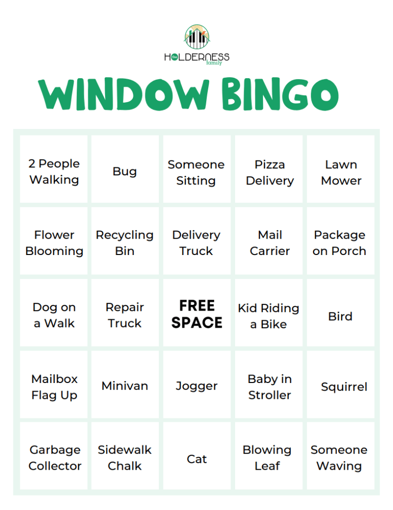 Stay At Home Window Bingo   Download   The Holderness Family